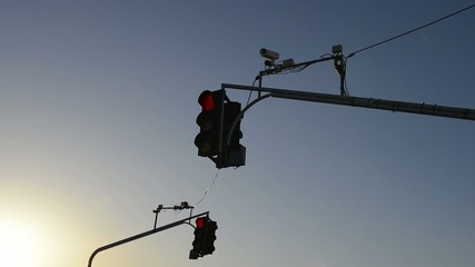 Traffic light with video camera above the road