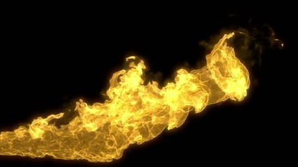 Animated realistic stream of fire with alpha channel.