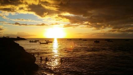 Coucher de soleil à Bouillante, Guadeloupe