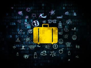 Vacation concept: Bag on Digital background