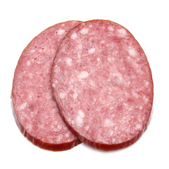 Smoked sausage salami slices isolated on white background cutout