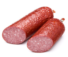 Smoked sausage salami isolated on white background cutout