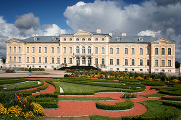 Rundale Palace in Latvia. The rose garden in the first plan..