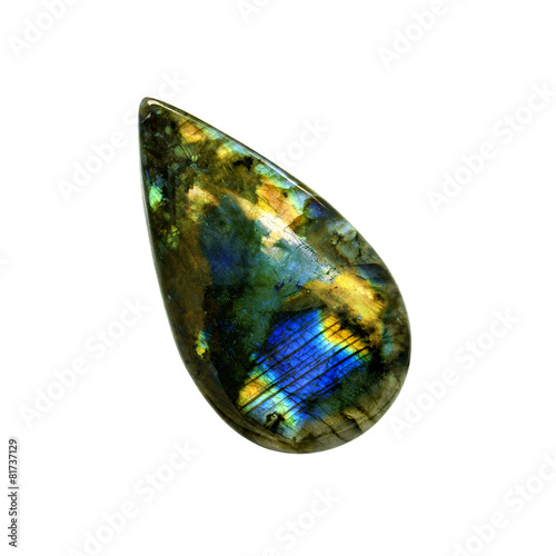 Labradorite stone isolated on a white - 81737129