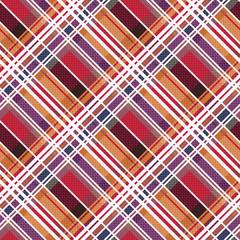 Diagonal tartan seamless texture mainly in warm hues