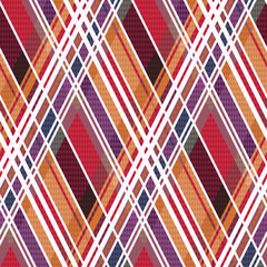 Diagonal tartan seamless texture mainly in warm colors