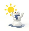 Snowman melting from the hot sun