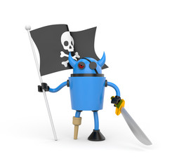 Robot with pirate flag