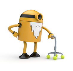 Old robot with a crutch
