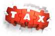 Tax - White Word on Red Puzzles. - 81739797