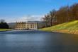 Leinwanddruck Bild - Lake, Emperor Fountain and Chatsworth House