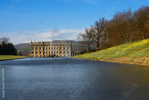 Tuinposter Fontaine Lake, Emperor Fountain and Chatsworth House