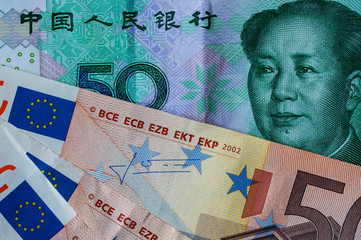 Chinese 50 Yuan and 50 euro bank notes