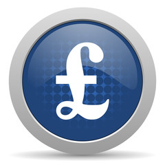 pound blue glossy web icon