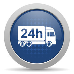 delivery blue glossy web icon.