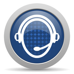 customer service blue glossy web icon