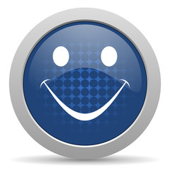 smile blue glossy web icon