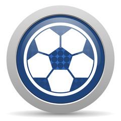 soccer blue glossy web icon