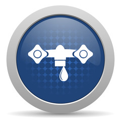water blue glossy web icon