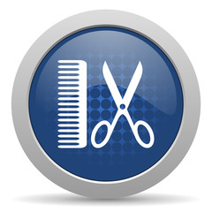 barber blue glossy web icon