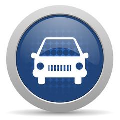 car blue glossy web icon
