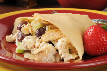 Chicken salad in a crepe