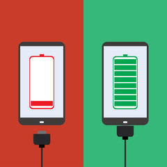 smartphone battery, flat design,