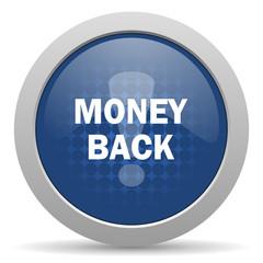 money back blue glossy web icon