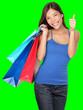 Shopping woman thumbs up success