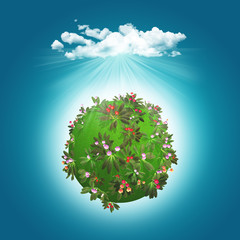3D render of a grassy globe with flowers and cloud