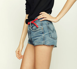 jeans shorts, fashion model