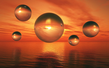 3D surreal landscape with glass spheres over sea