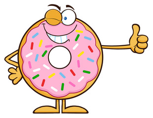 Winking Donut Cartoon Character With Sprinkles Giving A Thumb Up