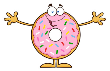 Funny Donut Cartoon Character With Sprinkles Wanting A Hug