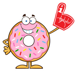 Smiling Donut Character With Sprinkles Wearing A Foam Finger