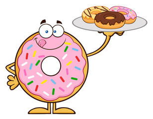 Sweet Donut Cartoon Character Serving Donuts