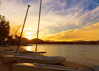 Alcudia Majorca at sunset on the beach Mallorca