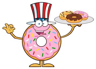 American Donut Cartoon Character Serving Donuts