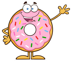 Sweet Donut Cartoon Character With Sprinkles Waving