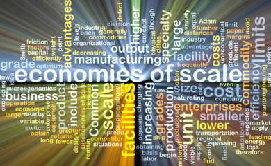 economies of scale wordcloud concept illustration glowing