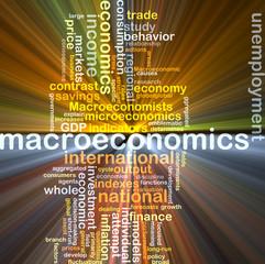 macroeconomics wordcloud concept illustration glowing