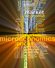 microeconomics wordcloud concept illustration glowing