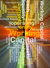 working capital wordcloud concept illustration glowing