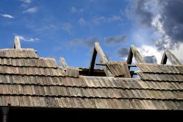 Dach Schaden, Repararur, Instandsetzung, Baustelle