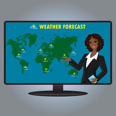 Vector illustration of a TV weather reporter at work.