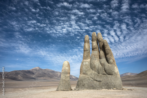 Fotobehang Standbeeld Hand Sculpture, the symbol of Atacama Desert