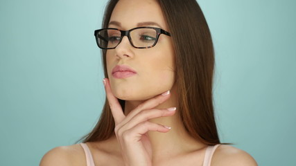 Attractive Young Woman Posing In Glasses