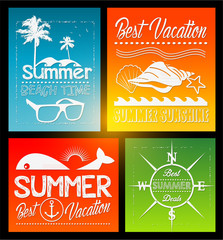 four Summer vector text typography vintage poster isolated from