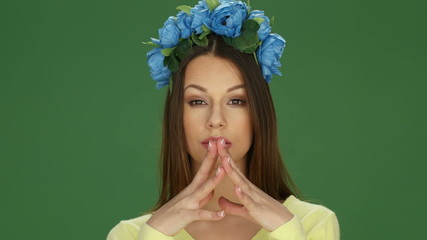 Attractive Young Woman Wearing Blue Floral Headdress