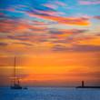 Leinwanddruck Bild - Mallorca port de Andratx sunset in Mallorca